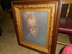ANTIQUE ORNATE PICTURE FRAME CONQUISTADOR ART  PAINTING NEED TIGHTENED 30 1/2 IN