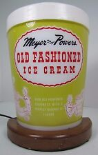 Old Lighted MEYER and POWERS Old Fashioned ICE CREAM Sign Figural Quart Penna