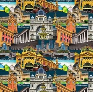 Melbourne Sights Allover Collage - 100% Cotton Quilting Fabric