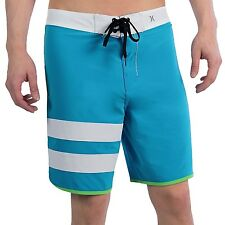 NEW* HURLEY PHANTOM BOARDSHORTS SHORTS MENS 34 Swimsuit Block Party Blue White