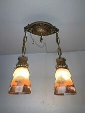 1920-30s Cast Metal 2 Light Flush Mount Fixture