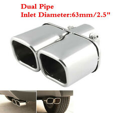 Car 63mm Twin Exhaust Tail Throat Tip Pipe Trim Dual Muffler Chrome Universal