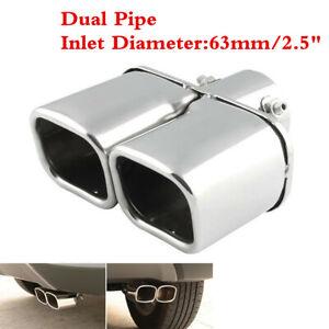 Car 63mm Twin Exhaust Tail Throat Tip Pipe Trim Dual Muffler Chrome Universal