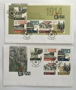 MAFD233) Australia 2014 Centenary WWI FDC (2 covers)