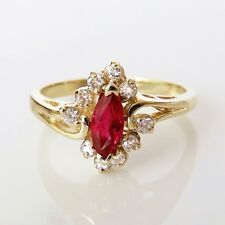 Natural Marquise Cut Ruby and Diamond Engagement Anniversary Ring 14K Gold