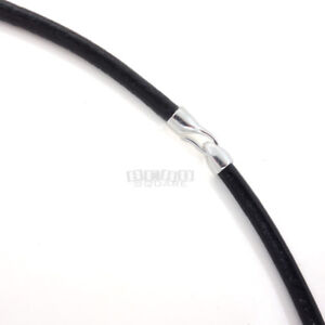 Sterling Silver Hook Clasp 3mm Round Genuine Leather Cord Necklace / Bracelet