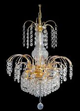 Lead Crystal Chandelier,Traditional LED Waterfall In Gold/Chrome+Free LED Globes