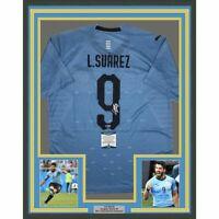FRAMED Autographed/Signed LUIS SUAREZ 33x42 Uruguay Blue Jersey Beckett BAS COA