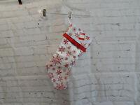 Holiday Time White w/Red Snowflake Stocking