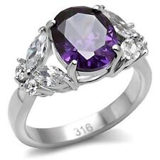 STAINLESS STEEL RING - 4 PRONG OVAL CUT AMETHYST CUBIC ZIRCONIA RING HCJ Size 7