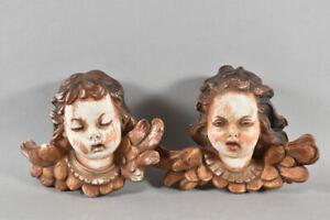 g91d17- Paar geflügelte Engelsköpfe/ Putten aus Achatit, im Barock-Stil