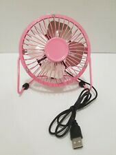 USB Mini Fan For Desk Small Quiet One Speed Metal Pink Color 4 Inch USB Powered