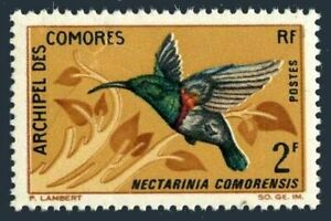 Comoro 69,mint was glued to backing paper.Michel 79. Sunbird,1967.