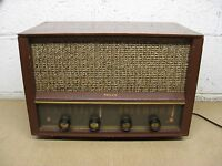 Vintage Philco E-976 Table Top AM/FM Tube Radio Mahogany Wood Used Parts/Repair