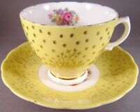 Colclough Bone China Teacup & Saucer - Gold Leaves, Yellow Background - England