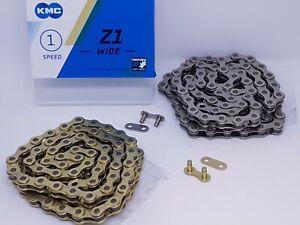 "KMC Z1 Wide 1/2 x 1/8"" BMX Old School Fixed Single Speed Chain Gold Silver Z510"