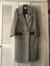 Nicole Farhi B/W Herringbone Midi Maxi Single Breasted Coat UK 10 12 14 NWT