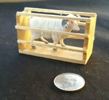 Dollhouse Miniature Barn Farm White Sheep in Wood Cage