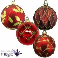 Gisela Graham Glass Bauble Ball Hanging Christmas Tree Decoration 80mm Red
