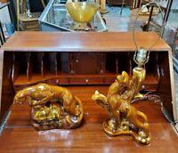 Pair of Mid Century Ceramic Brown Panther Cougar Matching Lamps Regency Lighting