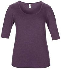 Hip Length Scoop Neck Patternless Tops & Shirts for Women