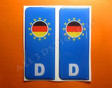 2 x Adesivi Resinati 3D Targa Bandiera Germania per Auto o Moto