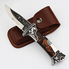 744| Couteau de chasse-Lame-Damascus-Knife-Outdoor-en acier forgé-survie-chasse