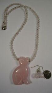 Lee Sands Carved Rose Quartz Cat Necklace & Earring Set Made in Hawaii