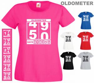 Oldometer 18th 20th 21th 30th 40th 50th 60th Birthday Ladies Funny Gift T-shirt
