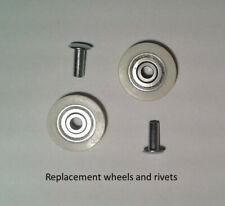 BNL10 - 2 x wheels & rivets for BNL10 ENGLAND 0423 865621 sliding door assembly