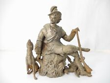 Antique Spelter Male Hunter with Dog & Game. Clock Mount
