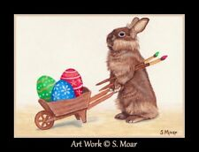 Easter Bunny Rabbit Artist Eggs Cart ACEO Limited Edition Miniature Art Print