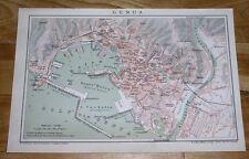 1900 ORIGINAL ANTIQUE CITY MAP OF GENOA / GENOVA / LIGURIA ITALY