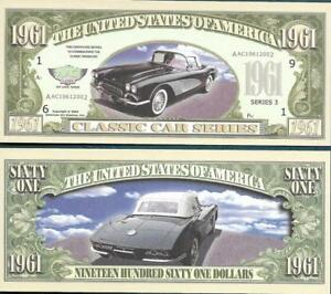1961 Dollars Fantasy Note 🚗💶 1961 CORVETTE 🚘 Classic Car 🚗 Buy More SAVE
