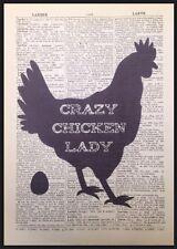 Crazy Chicken LADY preventivo VINTAGE DIZIONARIO pagina WALL ART PICTURE PRINT Uovo di Gallina