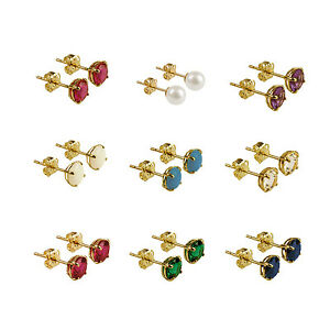 NEW 9ct Yellow Gold Studs Birthday Gemstones Opal Turquoise Ruby Topaz Pearl