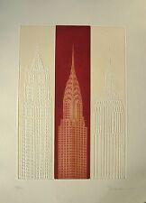 Joseph Robers Radierung mit Prägedruck New York Chrysler Building Rot