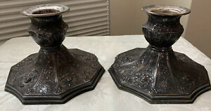 ANTIQUE BARBOUR SILVER-PLATE  REPOUSSE CANDLE HOLDERS ~ 3974 International Dutch