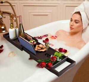 Bath Caddy Tray for Bathtub – Bamboo Adjustable Organizer Tray CHOOSE COLOR