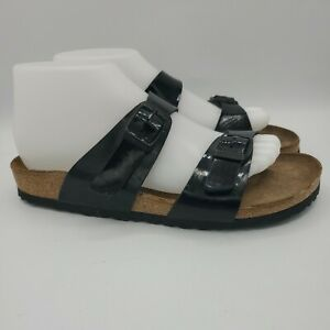 Women's Birkenstock Papillio Black Patent Leather Slides Sandals 38 EU 7-US