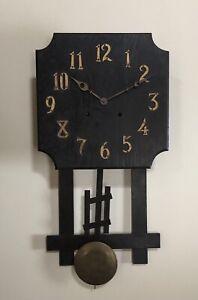 Antique Mission Oak Arts & Crafts Gilbert? Sessions Wall Regulator Clock