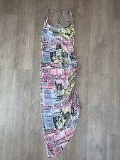 Almost Famous Small Dress Newspaper print pastels spaghetti strap Scrunched