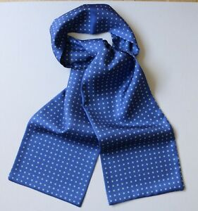 "Blue & white Millefiori hand printed silk Cravat Scarf 50"" X 6"" Hand made"