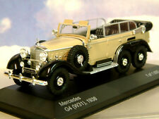 WHITEBOX DIECAST 1/43 1938 MERCEDES G4 (W31) 6 WHEEL GERMAN STAFF CAR BEIGE/BLK