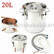 20L Alcohol Moonshine Copper Still Water Distiller Stainless Boiler Thumper Keg