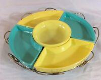 Vintage Hazel Atlas Turquoise Yellow Platonite Lazy Susan 6 pce set Metal Tray