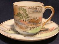 Japanese Porcelain Cup Saucer Set Hand-Painted, Occupied Japan