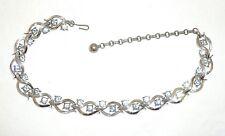 "Vintage Lisner Necklace, Sky Blue Rhinestones set in Wishbone Pattern, 12"""