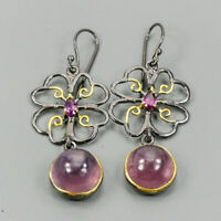 Vintage SET Natural Ruby 925 Sterling Silver Earrings /E36991