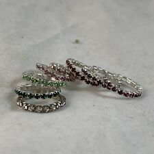 8 Pc Mix Color Elastic Toe Ring Cubic Zirconia